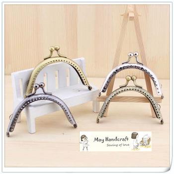 Free Shipping,8.5cm Bronze/Golden/Silver/Gun Semi-Circle Metal Purse Frame with Kiss Lock,Cute Coin Purse Frames,12Pcs/Lot>>K001