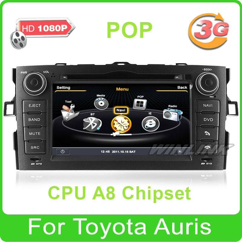2013 New ! Car DVD GPS Navigation System for Toyota Auris with Radio RDS BT TV Ipod Support 3G WiFi 1080P External DVR(China (Mainland))