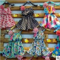 Free shipping 2013 summer childrens flower dress girls floraldresses kids clothes 6pcs/lot