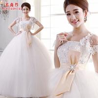 Yarn 2013 spring wedding dress elegant high waist princess sleeve wedding dress sweet bride wedding