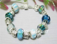 CB10  Factory price chamilia beads bracelet for woman.fashion charm bracelet.silver jewelry.free shipping
