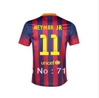 free shipping 13/14 best quality Players version spain League home #11 NEYMAR soccer jersey Football Uniforms , Embroidery logo