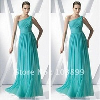 2013 2012 New Arrival Jade One Shoulder Pleated A-line Formal Gowns
