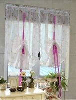 CT-14 83x150cm Vintage Draw string Embroidered Lace window Curtain Screen Printing Rose Lovely Flower Retractable sheer Curtain