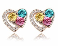 New Fashion 18K Gold Plated Colorful Double Heart Stud Earrings for Women,Elegant Crystal Earrings,Wholesale Peice Free SHipping