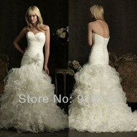 cheap wedding dresses with free shipping 2012 new designs customized best selling plus size bridal gown crystal trumpet