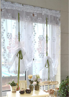 CT-16 85x180cm White Draw string Embroidered hydrangea Flower Window Screen Curtain Blind Lovely Retractable Sheer Curtain
