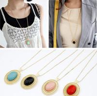 Retro Hollow Vintage Turquoise Drop Pendent Necklace Wholesale 10pcs/lot Long Necklace Statement Jewelry