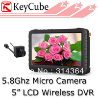 "Wholesale Price HOT! 5.8ghz micro wireless camera DVR 5""portable recorder receiver 16 CHs TE892HA"