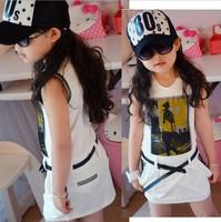 Petti big girls summer dresses fashiong print dresses with belt cool kids summer wear chiffon fashion clothing dress whoelsale