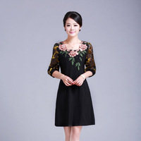 2013 summer high quality plus size vintage women's three-dimensional embroidery slim print half sleeve one-piece dress