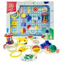 Free shipping Baby teethers rattles, combination 10 set gift box baby toy 0-1 year old