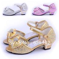 Hot-sellingFree shipping(5 pieces/lot) 2013 new fashion rhinestones high heeled Latin dance shoes kids/girls princess sandals240