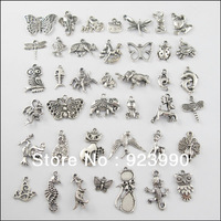 Free Shipping 40Pcs Mixed Tibetan Silver Tone Animals Charms Pendants Cat Horse etc.For Jewelry Making Craft DIY