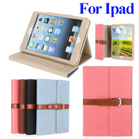 Business PU Leather Case for iPad 4 3 2 Magnetic Flip Stand case for iPad Mini New Smart cover with buckle fashion design
