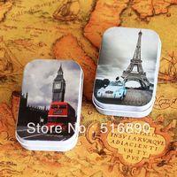 Free Shipping! 12pcs/lotbig ben Eiffel tower design tin case Jewelry Case  mini metal box pill case candy can