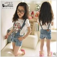 107-455 2013 Wholesale 5pcs/lot girls Denim shorts Strap jeans Summer denim shorts Comfortable Leisure short Summer wear