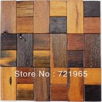 Natural wood mosaic tile rustic wood wall tiles NWMT018 kitchen backsplash wood panel real wood pattern mosaics tiles