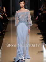 Elie saab spring couture 2014 o-neck appliques straight chiffon grey color floor length long sleeves free shipping ribbons