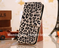 DHL Free shipping high quality Leopard grain leather Case For Samsung Galaxy s4 SIV i9500 with stand 50pcs/lot