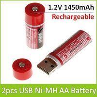 New Arrival !  2PCS/Pair 1.2V 1450mAh Rechargeable USB Ni-MH AA Battery