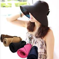 Free shipping 2013 Summer fashion casual Bow folding visor anti-uv sunbonnet sun hat straw hat size free adjustable cap RETAIL