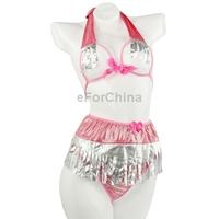 Free Shipping Women's Sexy Straps Gauze Bra   Low Rise G-string   Skirt Set (Waist: 55-80cm)
