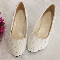 2014 women Rhinestone white lace flower married wedding shoes crystal handmade shoes