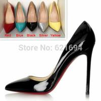 new 2014  summer shoes woman pointed toe red bottom high heels prom shoe sapatos calcados femininos de salto em atacado