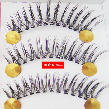 free shipping wholesale Handmade false eyelashes 055 transparent fashion make-up all-match long 1.3cm lengthening  free glue