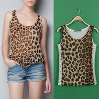 2013 summer Womens Chiffon Blouses Leopard Sleeveless Fashion Shirts O-Neck Tops Lace Partchwork Shirt Blouse Free Shipping