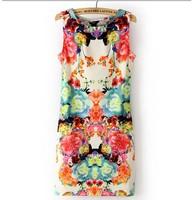 Forever18 women's slim 2014 sleeveless fashion flower one-piece dress
