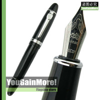 JINHAO 159 BLACK LACQUERED BROAD NIB HEAVY FOUNTAIN PEN NEW SILVER TRIM  NEW HOT SELL