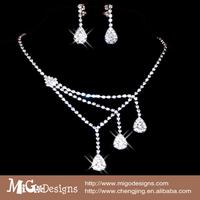2014 Fashion Wedding Jewel ry Set /Silver Plated Necklace Earrings with CZ Crystal Rhinestone Wedding party women jewelry set