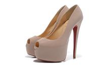Nude peep toe patent leather highheel shoes