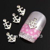100pcs / lot 9X6MM Anchors Style Silver Tone 3D Metal Alloy Scrapbooking Craft Nail Art Salon Tips Cellphone Cover Decorations