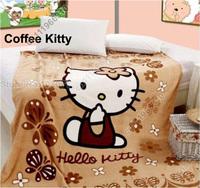 Cartoon Animal Baby Kid Toddler Infant Boy Girl Coral Fleece Mink Throw Blanket Bed Set Cover Quilt Comforter Sheet-Coffee Kitty