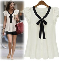 Free Shipping ! Hot Sale ! New Arrive ! Women 2013 Summer Batwing Sleeve Solid Chiffon Tops Blouse Short Sleeve T shirt