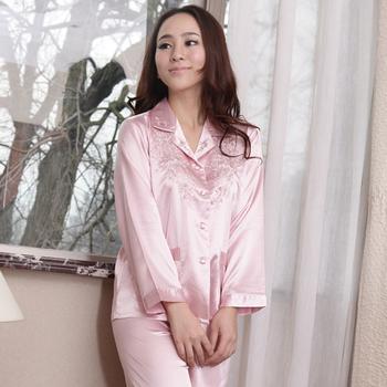 Spring faux silk women's long-sleeve sleep set elegant women's plus size silk twinset lounge set