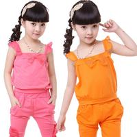 2013 children's summer clothing female child spaghetti strap vest sweatshirt sports set capris