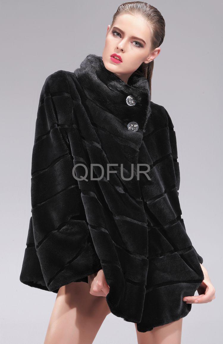 2013 Woman Genuine Whole Hide Mink Fur Coat With Hoody