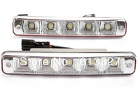 2PCS Universal White 5 LED Daytime Running Light,  Fog DRL Lamp for Car