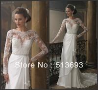 Spring Fashion Satin Long Sleeves 2013 Crystals Wedding Dress Lace