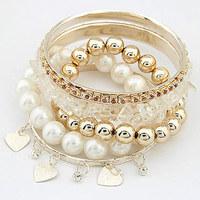 [Mix 15USD] Fashion pearl love of gravel multi-layer bracelet