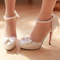 women's satin fabric white wedding shoes bow platform high-heels dress pumps shoes