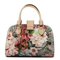 2013 women's handbag fashion oil painting leather handbag flower 81845