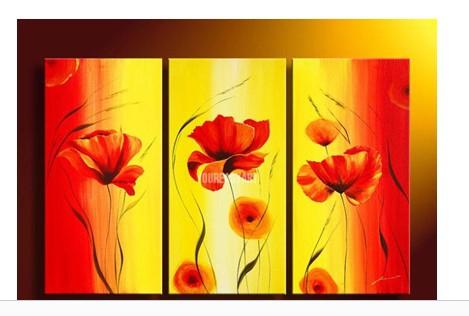 Abstrata moderna Acrílico Flor Laranja Poppy Red e pintura a óleo amarela no quadro da lona(China (Mainland))