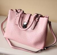 Fashion cowhide knitted work women's bag handbag one shoulder cross-body handbag genuine leather bag