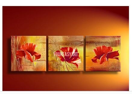 Pintura a óleo abstrata moderna acrílico flor laranja em fotos de lona no retrato da parede(China (Mainland))