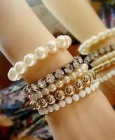 [Mix 15USD] Mix match sparkling crystal multi-layer mix mixed pearl sets bracelet